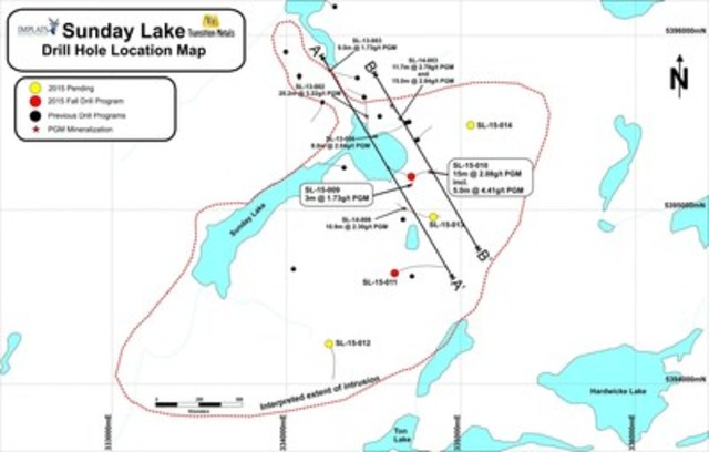 Figure 1: Plan Map of the Sunday Lake Property and Drill Hole Collar Locations (CNW Group/Transition Metals Corp.)