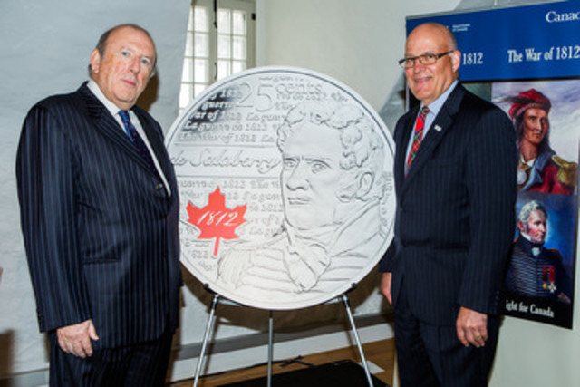 From left to right: Royal Canadian Mint Board of Directors member Guy Dancosse and Stewart Museum Executive Director and Chief Curator Guy Vadeboncoeur unveil a new 25-cent circulation coin honoring War of 1812 hero Lieutenant-Colonel Charles-Michel de Salaberry at the Stewart Museum in Montreal, Quebec (March 15, 2013). (CNW Group/Royal Canadian Mint)