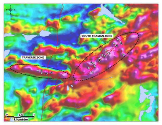 Magnetic geophysical survey showing magnetic anomalies associated to Traverse and South TraMan Zones. (CNW Group/Arianne Phosphate Inc.)