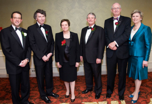 Inaugurated at the 14th Annual ICD Fellowship Awards Gala on June 9, 2011 in Toronto, the 2011 ICD Fellows are congratulated by the ICD:(from left to right) Stan Magidson (President and CEO, ICD), John MacNaughton, Maureen Kempston Darkes, Ian Bourne, Spencer Lanthier, and Donna Soble Kaufman (Chair, ICD). (CNW Group/Institute of Corporate Directors (ICD))