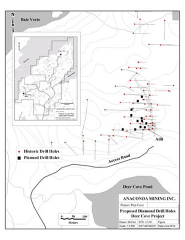 Anaconda Mining Deer Cove Proposed Drill Hole Map (CNW Group/Anaconda Mining Inc.)