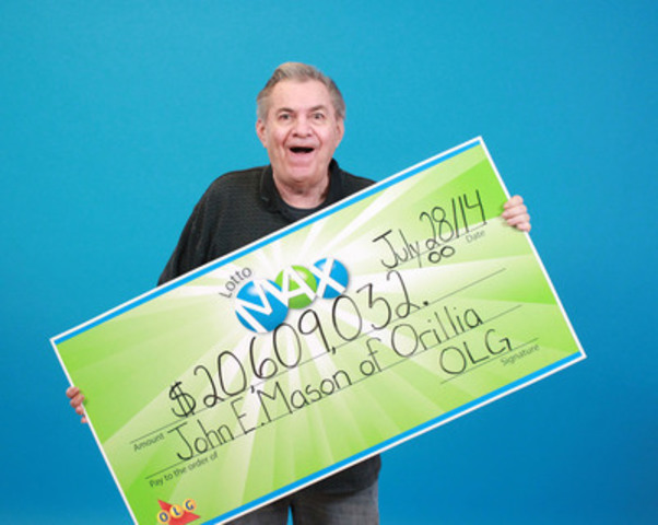 John E. Mason of Orillia claimed the $20,‎609,032 jackpot from the July 25, 2014 LOTTO MAX draw (CNW Group/OLG Winners)
