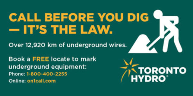 April is Dig Safe Month (CNW Group/Toronto Hydro Corporation)
