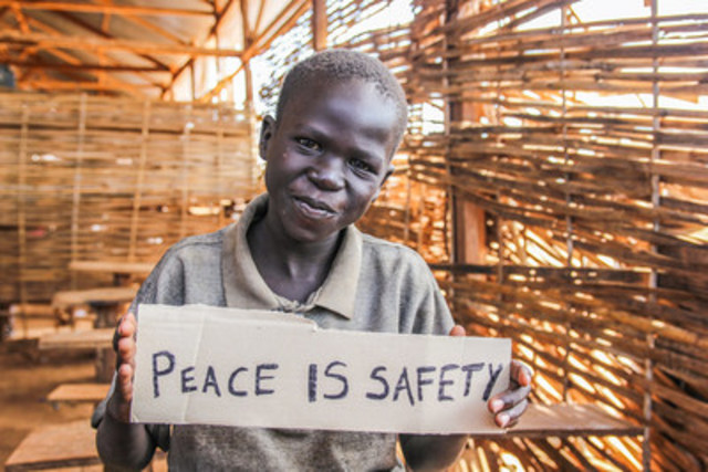 Eight-year-old Choul Baping says he is scared that new fighting will break out and that for him peace in South Sudan means safety. CREDIT: Steph Glinski/World Vision (CNW Group/World Vision Canada)