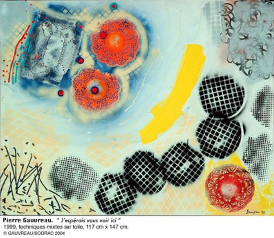 Pierre Gauvreau - J'espérais vous voir ici, 1999. Techniques mixtes sur toile. Collection particulière. (Groupe CNW/Musée de la Civilisation)