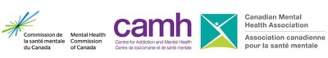 Logos : La Commission de la santé mentale du Canada ; Le Centre de toxicomanie et de santé mentale (CAMH) ; l'Association canadienne pour la santé mentale (ACSM) (Groupe CNW/Commission de la santé mentale du Canada)
