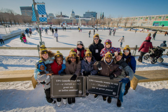 UPS Canada celebrated 40 years Saturday, February 28 at Old Port Skating Rink in Montreal. UPS Canada thanked its employees and the community with free skating and giveaways. UPS volunteers handed out free admission vouchers, hot chocolate, sweet treats and 40th anniversary commemorative toques. (CNW Group/UPS Canada Ltd.)