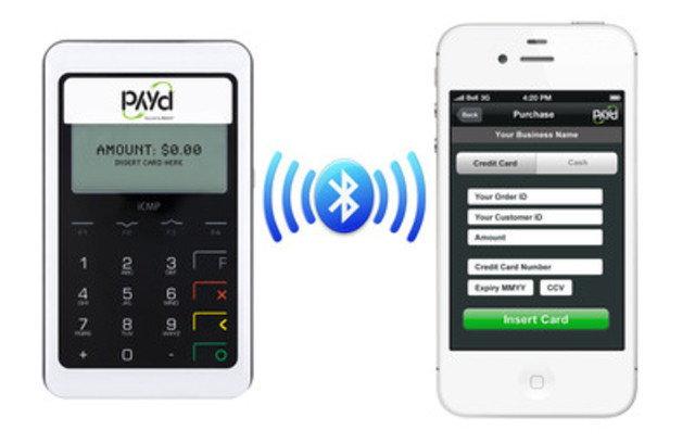 PAYD PRO is Canada's first debit-enabled mobile payment solution using chip & PIN technology to process payments on the go. The mobile application uses Bluetooth technology to connect a lightweight and portable companion device to any Apple® iOS and Google® Android™ smartphone. (CNW Group/Moneris Solutions Corporation)