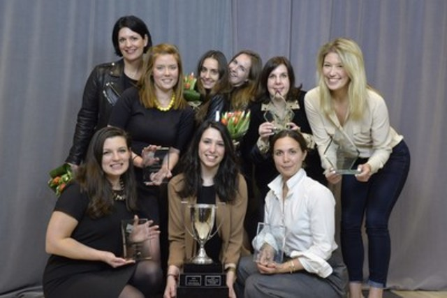 The Narrative PR Team with their Creative Campaign of the Year Award for Scotiabank SCENE Fall (CNW Group/Canadian Public Relations Society)