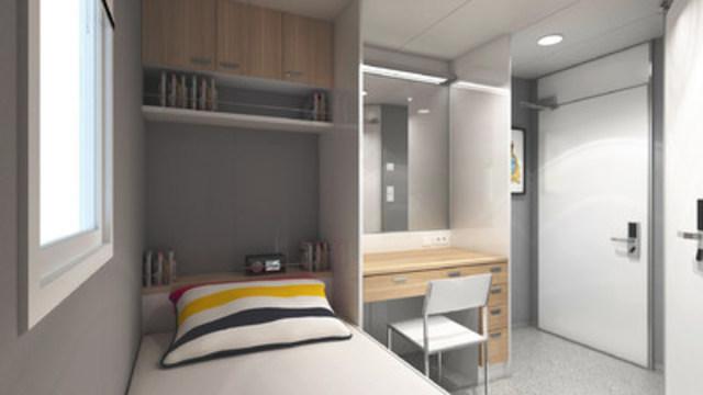 One-man cabin configuration and design aboard m/v Asterix (CNW Group/Davie Shipbuilding)