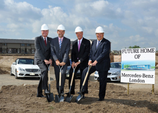 Tim A. Reuss, President and CEO of Mercedes-Benz Canada, and senior company executives joined Brian and Ryan Finch of Finch Automotive Group to celebrate the official ground-breaking of their new landmark dealership in London, ON. (CNW Group/Mercedes-Benz Canada Inc.)
