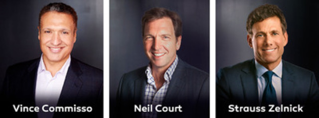 Vince Commisso, Neil Court and Strauss Zelnick (CNW Group/9 Story Entertainment Inc.)
