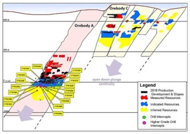 Figure 3 - Detailed Longitudinal Section, Turmalina Gold Mine (CNW Group/Jaguar Mining Inc.)