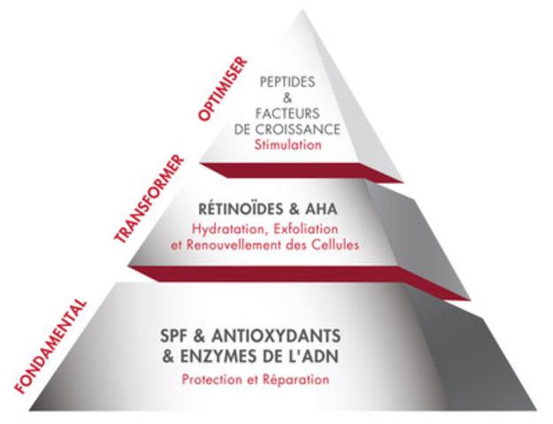 La pyramide de santé & beauté peau ™ est un guide pédagogique de cadre et produit créé à partir d'une vaste revue de littérature et étude scientifique sur les ingrédients, de formulations et de technologies qui touchent la biologie de la peau. (Groupe CNW/Elizabeth Arden)