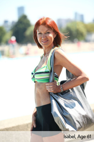 Isabel, Age 61, Horizon Halter and Matt Skirt Bottom with Shine On Tote by Seafolly. (CNW Group/Swimco)
