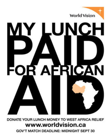 2012 lunch bag sticker (CNW Group/World Vision Canada)