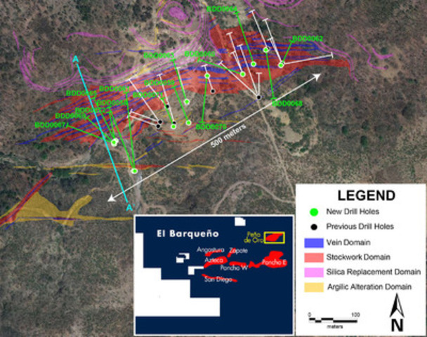 Figure 1 - Pena de Oro Drill Results Map (CNW Group/Cayden Resources Inc.)