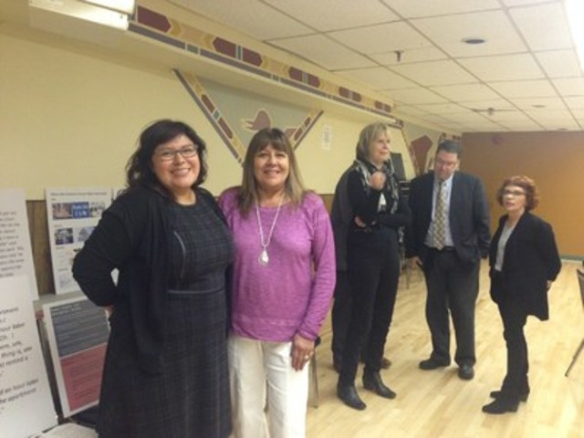 Marie Meawasige and Lori Mishibinijima at the launch of the Provincial Aboriginal Human Rights Training ...