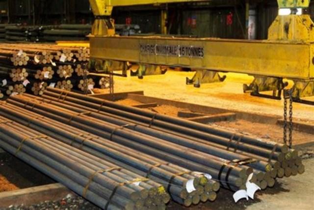 Barres rondes d'acier produites au laminoir de Longueuil. (Groupe CNW/ArcelorMittal Montréal)