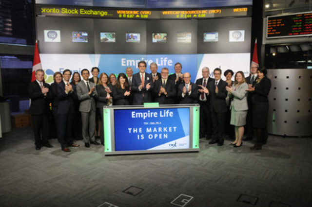 Duncan N.R. Jackman, President & CEO, E-L Financial Corporation Limited, joined Richard Rohan, VP, Corporate Sales, TMX Equity Transfer Services to open the market. The Empire Life Insurance Company (EML.PR.A) is a subsidiary of E-L Financial Corporation Limited. Since 1923, Empire Life has provided individual and group life and health insurance, investment and retirement products to Canadians. Empire Life commenced trading on Toronto Stock Exchange on February 16, 2016. For more information please visit www.empire.ca. (CNW Group/TMX Group Limited)