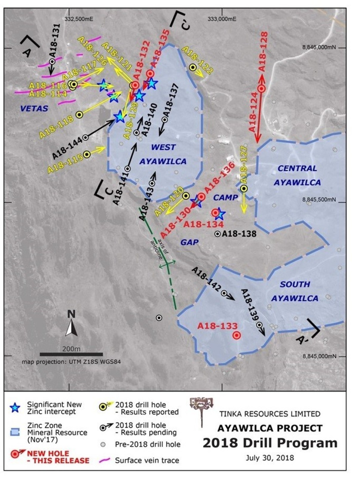 Figure 2.  West & South Ayawilca drill hole map highlighting 2018 holes & current zinc resources