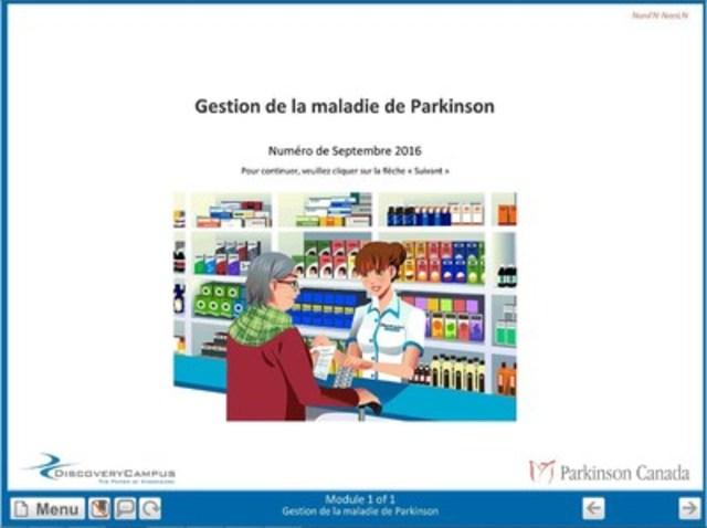 Parkinson Canada tend la main aux pharmaciens au moyen d'un module d'apprentissage en ligne visant à accroître leur capacité à conseiller les personnes touchées par la maladie de Parkinson. (Groupe CNW/Parkinson Canada)