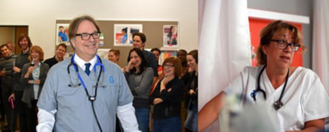 De gauche à droite, Christian Roy, directeur général du cégep Gérald-Godin et en arrière-plan, les invités. À droite Viviane Fournier, coordonnatrice du programme Soins infirmiers du cégep Gérald-Godin. (Groupe CNW/Cégep Gérald-Godin)
