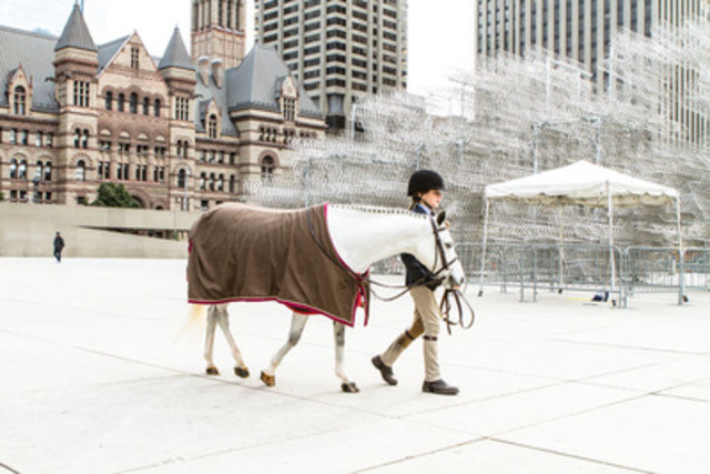 Equestrian Ellie White, 11, shows of her pony, Sammy, at a Royal Agricultural Winter Fair pop-up event today at Nathan Phillips Square (Photo credit: Mark Peachey, The Digitalist) (CNW Group/The Royal Agricultural Winter Fair)