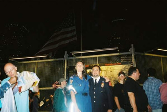 Paramedic Roberta Scott and George Contreras NYC EMT/Paramedic at Ground Zero on the 1st Anniversary of 9/11 (CNW Group/Toronto Paramedic Association)