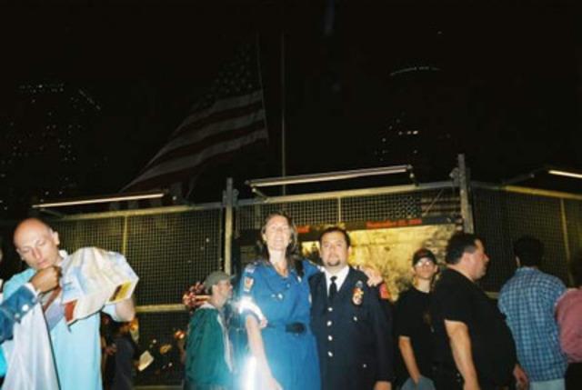 Paramedic Roberta Scott and George Contreras NYC EMT/Paramedic at Ground Zero on the 1st Anniversary of 9/11 (CNW Group/Toronto Paramedic Association)