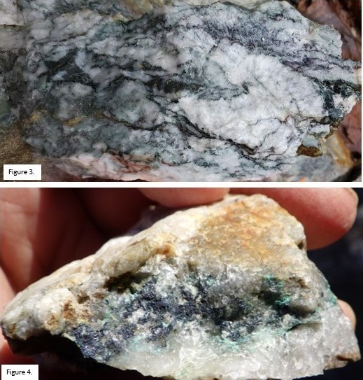 Figure 3. Sample 3044 from the newly discovered Windfall Zone containing considerable marcasite. Figure 4. Copper mineralization (chalcocite) hosted in vuggy quartz vein from Conquest Zone. (CNW Group/Northern Shield Resources Inc.)