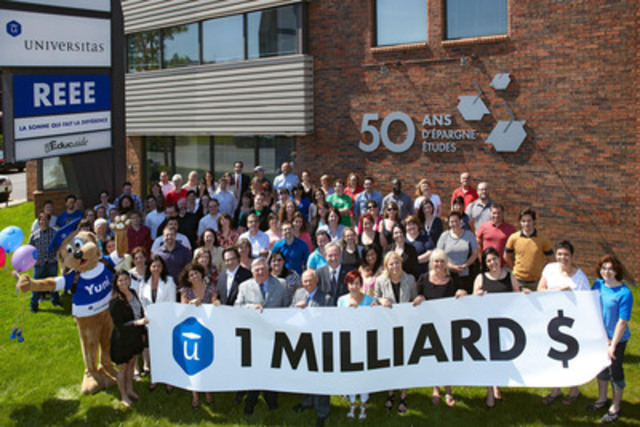 The year 2014 marks the 50th anniversary of Universitas and the achievement of an important milestone: the crossing of the threshold of $1 billion in assets under management. The board of directors and employees were gathered in front of the head office this week to celebrate this historic moment. (CNW Group/Gestion Universitas inc.)