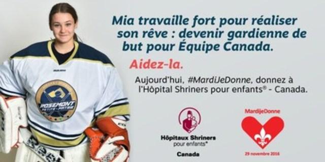 Mia travaille fort pour réaliser son rêve : devenir gardienne de but pour Équipe Canada. Aidez-la. Aujourd'hui, #MardiJeDonne, donnez à l'Hôpital Shriners pour enfants - Canada. (Groupe CNW/Hôpital Shriners pour enfants)