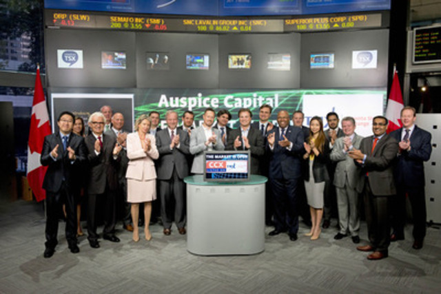 Tim Pickering, President, Auspice Capital joined Amelia Nedovich, Head, Business Development, Exchange Traded Funds (ETF) and Structured Products, TMX Group to open the market to launch Canadian Crude Oil Index ETF (CCX). Auspice Capital is a Calgary based fund manager of non-correlated alternatives. Auspice is registered as a portfolio manager (IFM, CTM, EMD) in Canada and a Commodity Trading Advisor with the National Futures Association. Auspice is the manager and trustee of the ETF, and is responsible for providing or arranging for the administrative and third party services required. Canadian Crude Oil Index ETF (CCX) commenced trading on Toronto Stock on May 12, 2015. For more information please visit http://www.auspicecapital.com/ (CNW Group/TMX Group Limited)