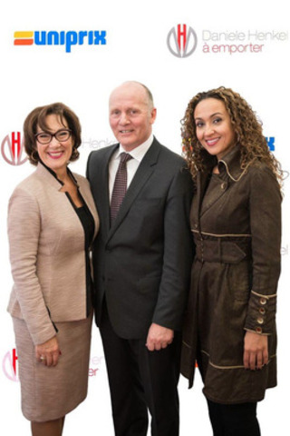 UNIPRIX INKS EXCLUSIVE DEAL FOR DANIELE HENKEL TO GO, A New Express Anti-Aging Concept - Mme. Danièle Henkel joins Philippe Duval, President and CEO of Uniprix and Concept Creator Linda Mahieddine on the red carpet at the official launch yesterday (CNW Group/Uniprix Inc.)