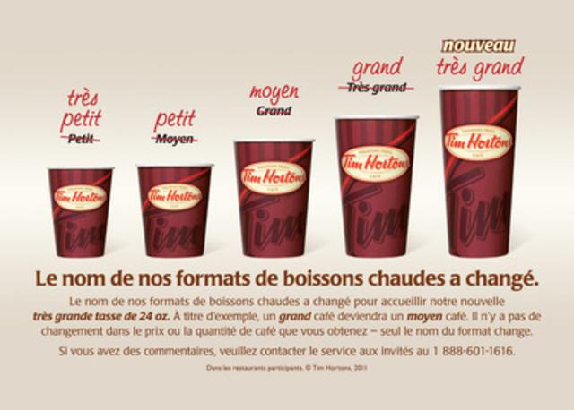Le nom de nos formats de boissons chaudes a changé. (Groupe CNW/Tim Hortons Inc.)