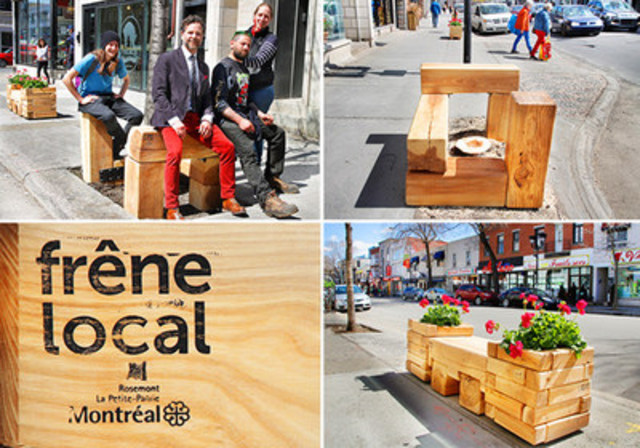 Rosemont-La Petite-Patrie - Le mobilier en frêne local est arrivé dans le quartier! (Groupe CNW/Ville de Montréal - Arrondissement de Rosemont - La Petite-Patrie)