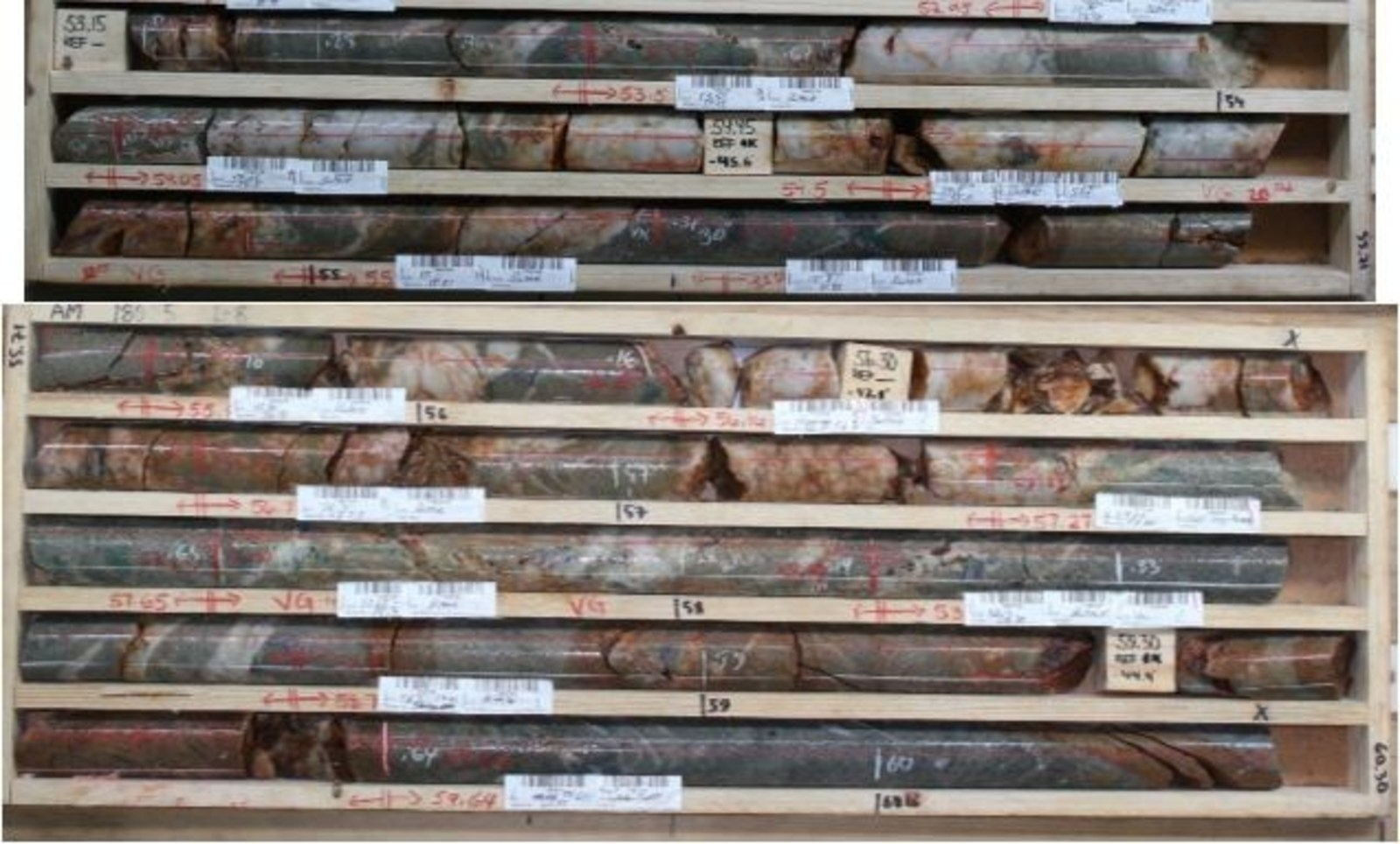 Aamurusko Main; Drillhole AM18035.  12.45 g/t Au over 5.2 m from 53.5 to 58.7 m
