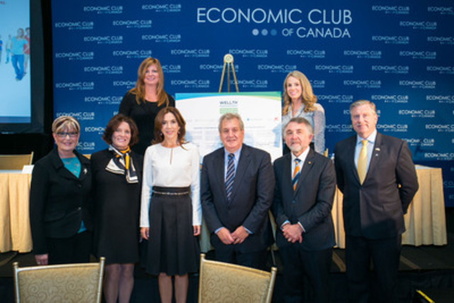 Front Row: Louise Bradley, President & CEO of the Mental Health Commission of Canada; Margaret Trudeau; Her Royal Highness Crown Princess Mary of Denmark; Joseph Ricciuti, Co-Founder Mental Health International; Allan Ebedes, President & CEO of Excellence Canada; Patrick Cashman, President & General Manager of Lundbeck Canada; Back Row: Suzanne Cookson, Co-founder of Cookson James Loyalty Inc. and Rhiannon Traill, President & CEO, Economic Club of Canada.  (CNW Group/The Economic Club of Canada)