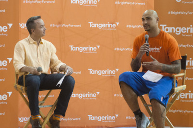 Tangerine Chief Operating Officer, Ian Cunningham, and NBA player Rob Sacre discussed empowerment through sport at Tangerine's Community Gym event in Vancouver today. (CNW Group/Tangerine)