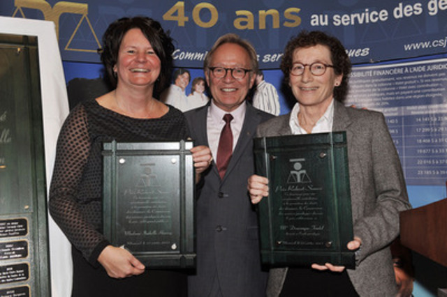 From left to right: Ms. Isabelle Harvey, recipient of the Robert-Sauvé - General Public award, Me Denis Roy, chairman of the Commission des services juridiques and Me Dominique Trudel, recipient of the Robert-Sauvé - Network award (CNW Group/Commission des services juridiques)
