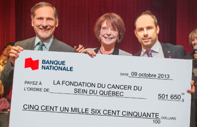 On the photo (from left to right): Richard Hébert, Executive Vice-President - Life Insurance, National Bank Insurance; Francine Cléroux, Chief Executive Officer of Quebec Breast Cancer Foundation; and Yann Jodoin, Vice-President - Retail Products at National Bank. (CNW Group/National Bank of Canada)