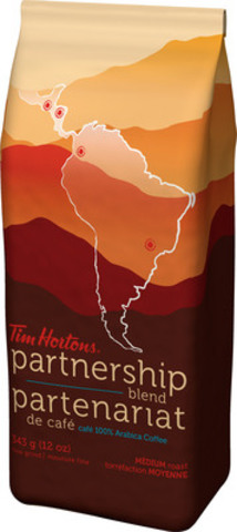 Tim Hortons unique Coffee Partnership reaches major milestone in sustainable coffee production with first-ever Tim Hortons Partnership Blend - sourced 100% from coffee farmers in the program. (CNW Group/Tim Hortons Inc.)