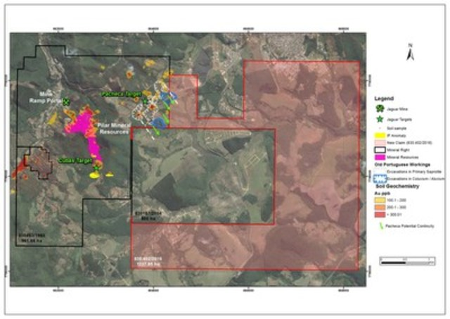 Figure #2 shows the location of Jaguar's Pacheca and Cubas gold targets and potential down plunge continuities. (CNW Group/Jaguar Mining Inc.)
