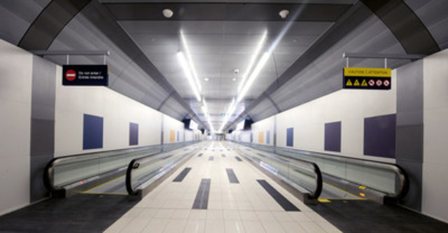 The new Billy Bishop Toronto City Airport Pedestrian Tunnel, which opened today, July 30, 2015. (CNW Group/PortsToronto)