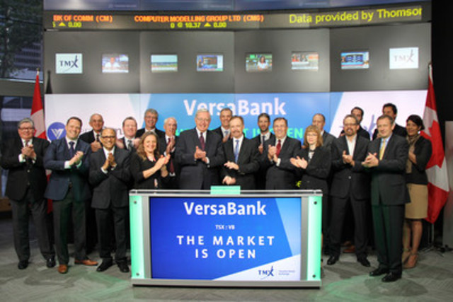 "David Taylor, President and Chief Executive Officer, VersaBank (VB), joined Steven Mills, Regional Head, TSX Company Services, Toronto Stock Exchange & TSX Venture Exchange to open the market. VersaBank, formerly, Pacific & Western Bank of Canada (PWB), is a Canadian Schedule I chartered bank, which operates using an ""electronic branchless model"". VersaBank commenced trading on Toronto Stock Exchange on August 27, 2013. For more information, please visit www.versabank.com. (CNW Group/TMX Group Limited)"