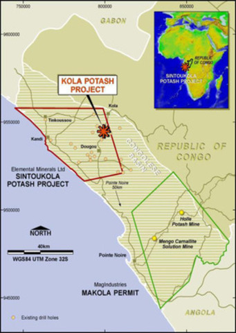 Figure 1: Location of Sintoukola Potash Project (CNW Group/Elemental Minerals Limited)