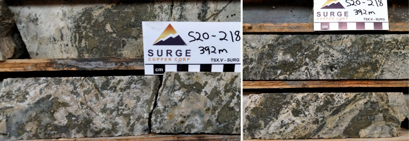 Figure 3. Core from Hole S20-218 around 392 metres depth. Pyrite rich veins and breccias associated with quartz, white clay, and containing low-grade gold mineralization. (CNW Group/Surge Copper Corp.)