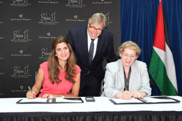 Signing a Memorandum of Understanding between Princess Margaret Cancer Centre, University Health Network (UHN) and the King Hussein Cancer Center are (l to r) Her Royal Highness Princess Dina Mired, Dr. Robert Bell, President and CEO of UHN and Dr. Mary Gospodarowicz, Medical Director of the cancer program. (CNW Group/Princess Margaret Cancer Foundation)