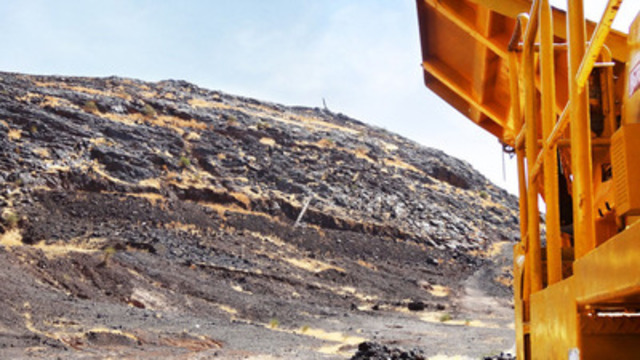 Crusher in foreground of Manganese Hill D at Ansongo (CNW Group/Transatlantic Mining Corp.)